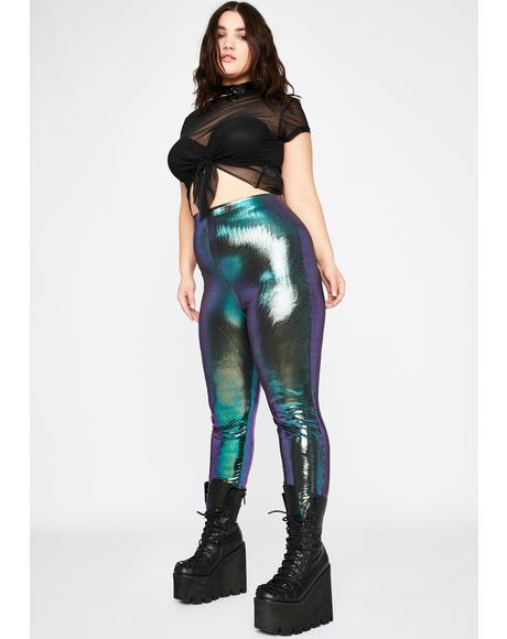 Epic Mermaid Disco Dimension Metallic Leggings