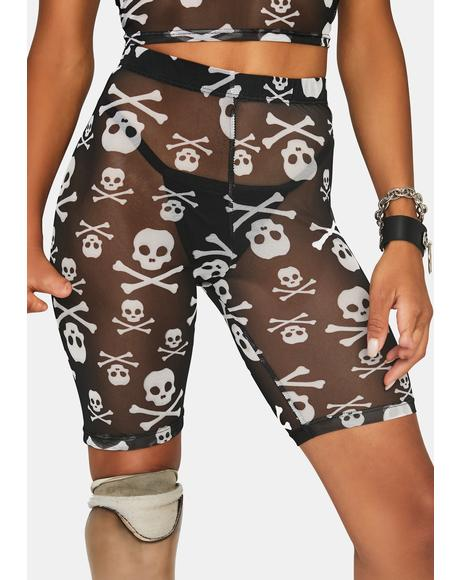 Skull Crusher Biker Shorts