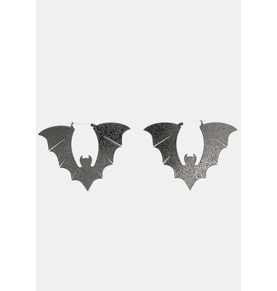 Too Fast Bats Black Textured Hoop Earrings