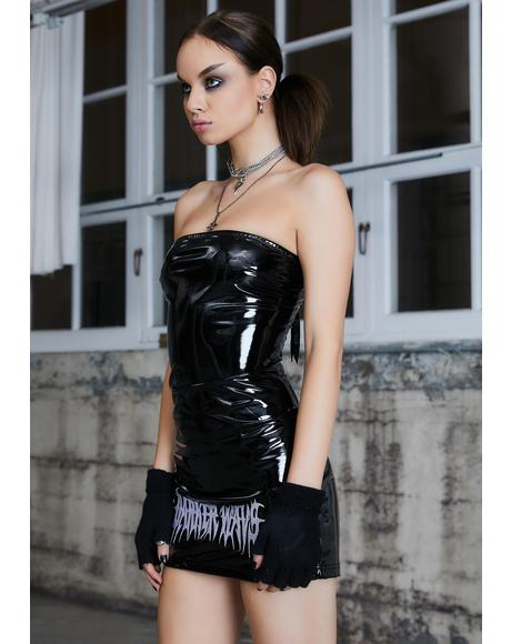 Kickdrum Patent Strapless Mini Dress