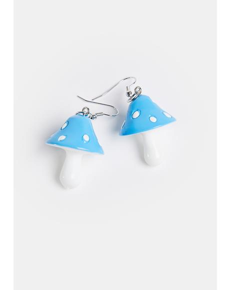 Sky Down The Rabbit Hole Mushroom Earrings
