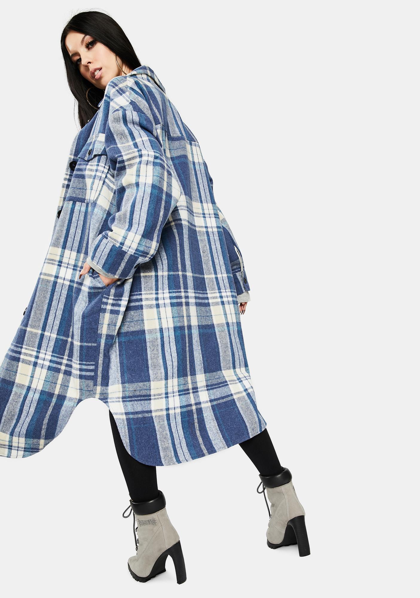 Re Named Blue Plaid Long Jacket