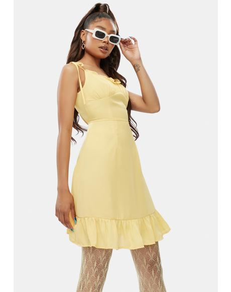 Sour No Promises Ruffle Tie Strap Mini Dress