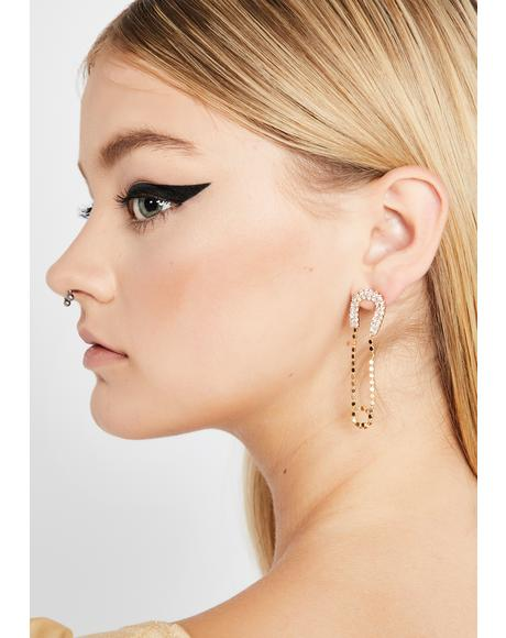 Gilded Pin Up Gal Rhinestone Earrings