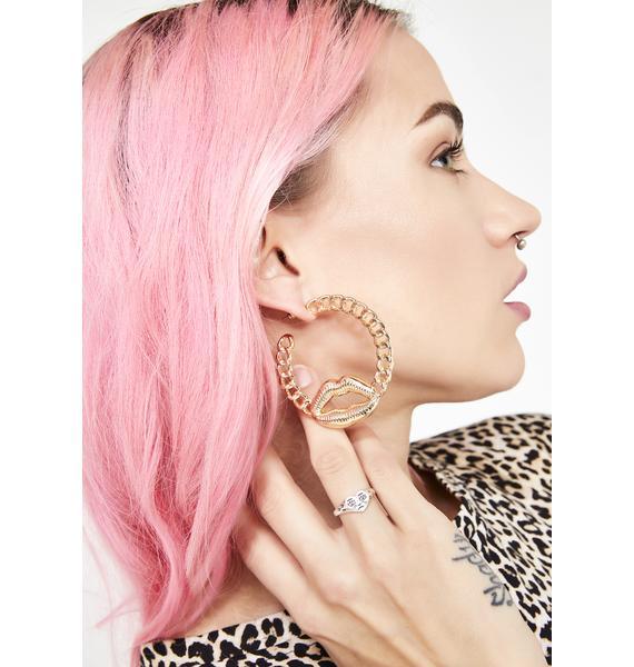 Lip Lock Chain Earrings