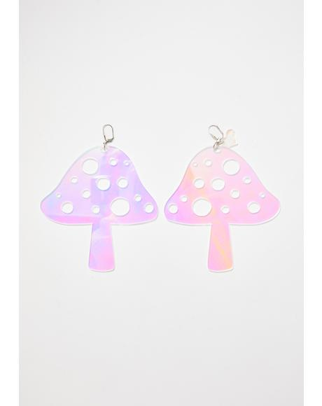 Holographic Mushroom Earrings