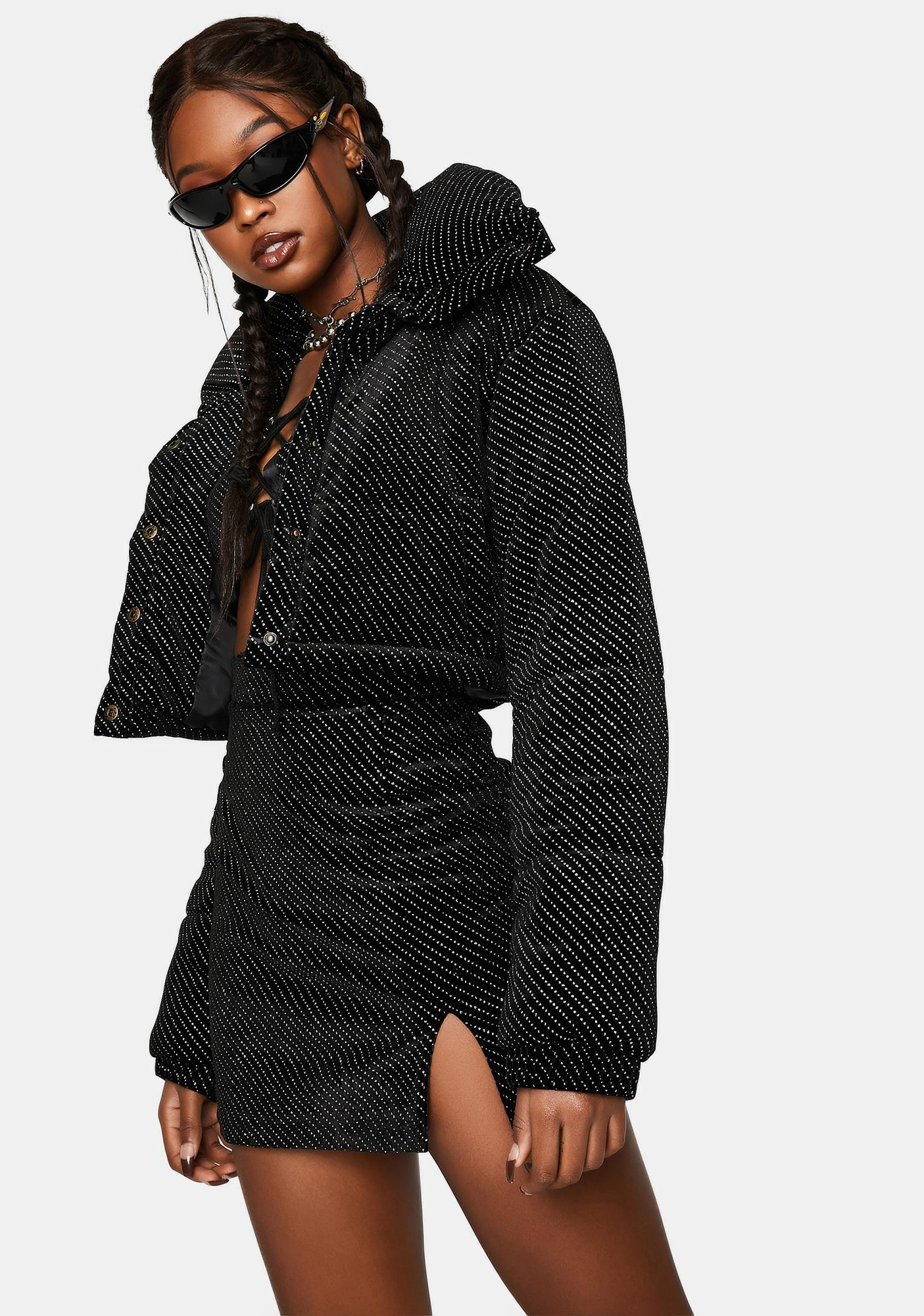 One Above Another Velour Diamante Cropped Puffer Jacket
