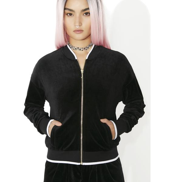 JUICY COUTURE Velour Ruched Track Jacket