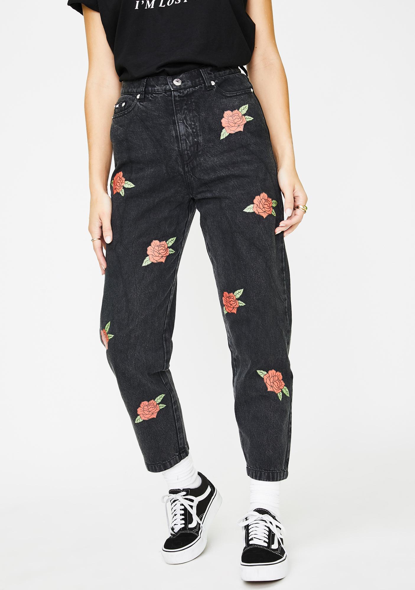 Minga Blooming Roses Mom Jeans