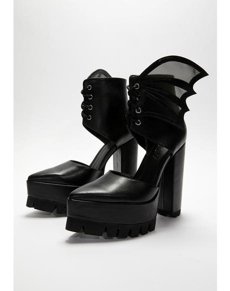 Midnight Calling Bat Wing Heels