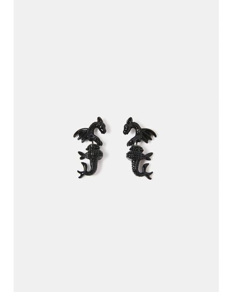 Firebreather Dragon Stud Earrings