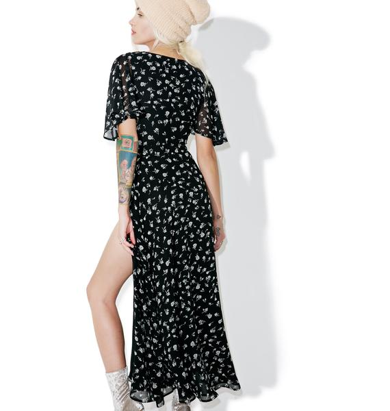Wildfox Couture Floral Flutter Wrap Dress