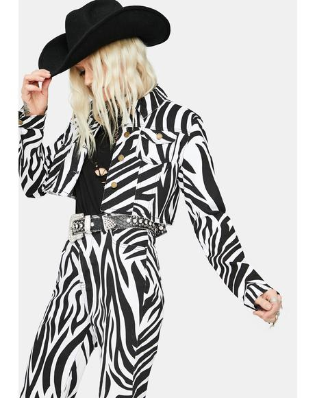 Free To Roam Zebra Print Denim Jacket