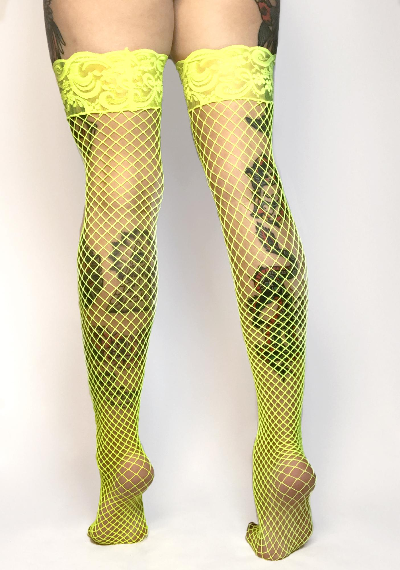 Caution Being Bad Fishnet Thigh Highs