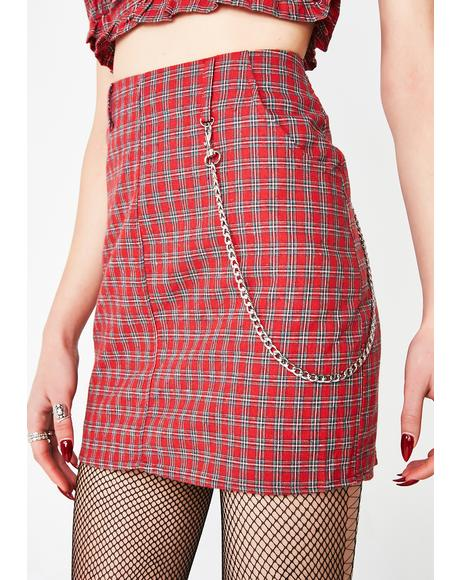 Cherry Love Lies Plaid Skirt