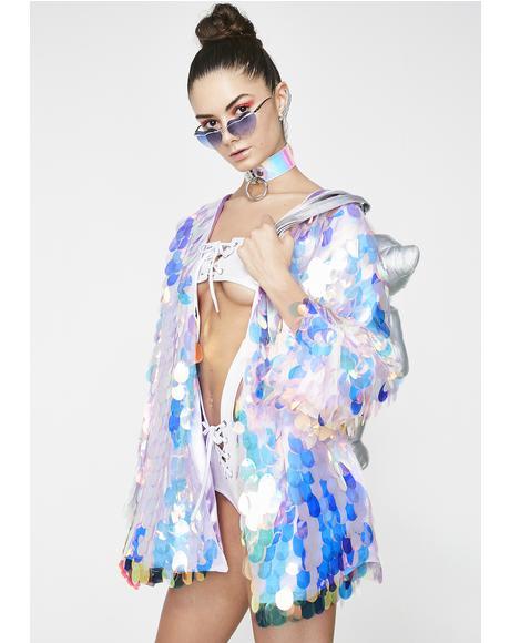 Eggshell Iridescent Kimono