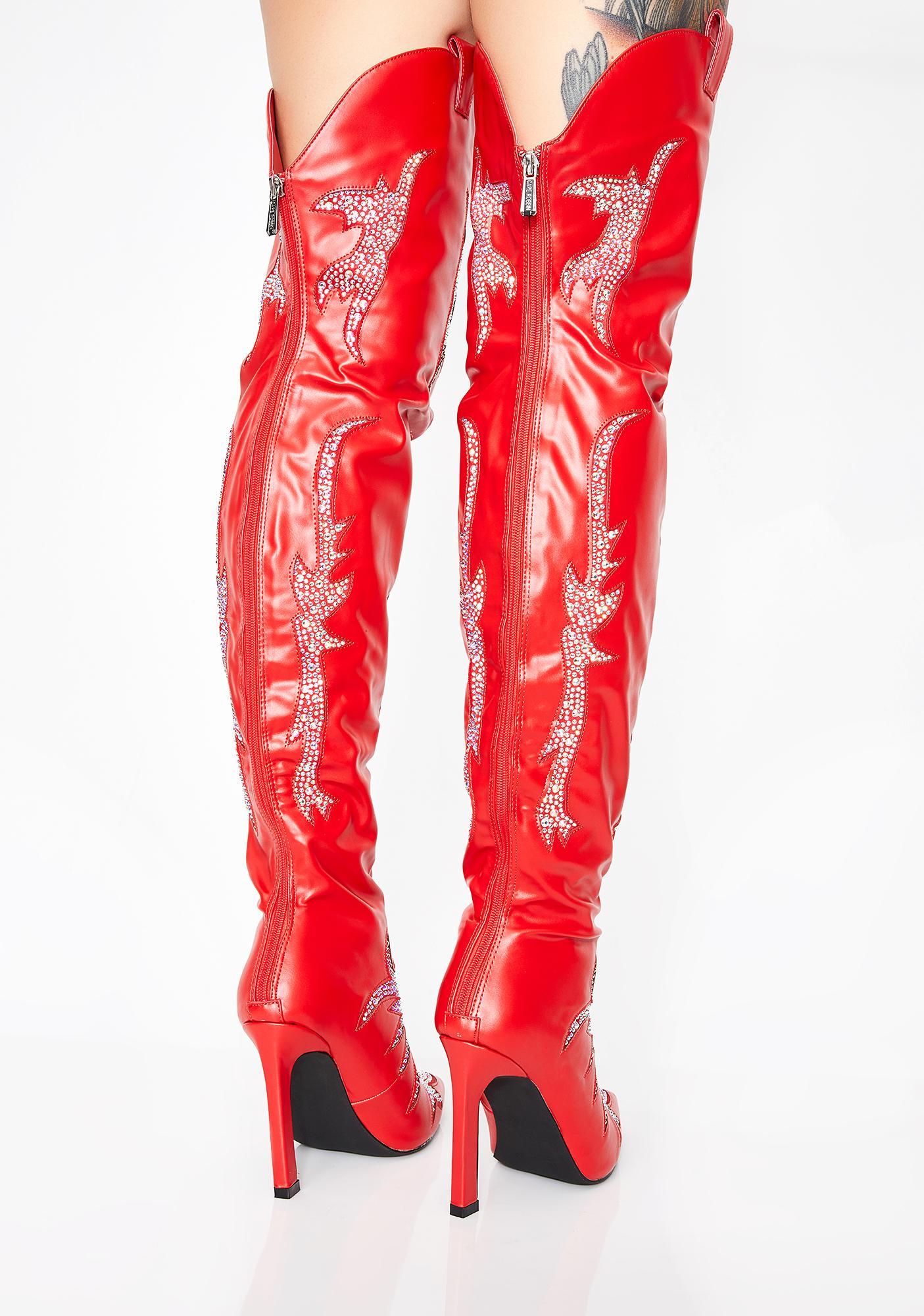 Lit Rhinestone Rider Thigh High Boots