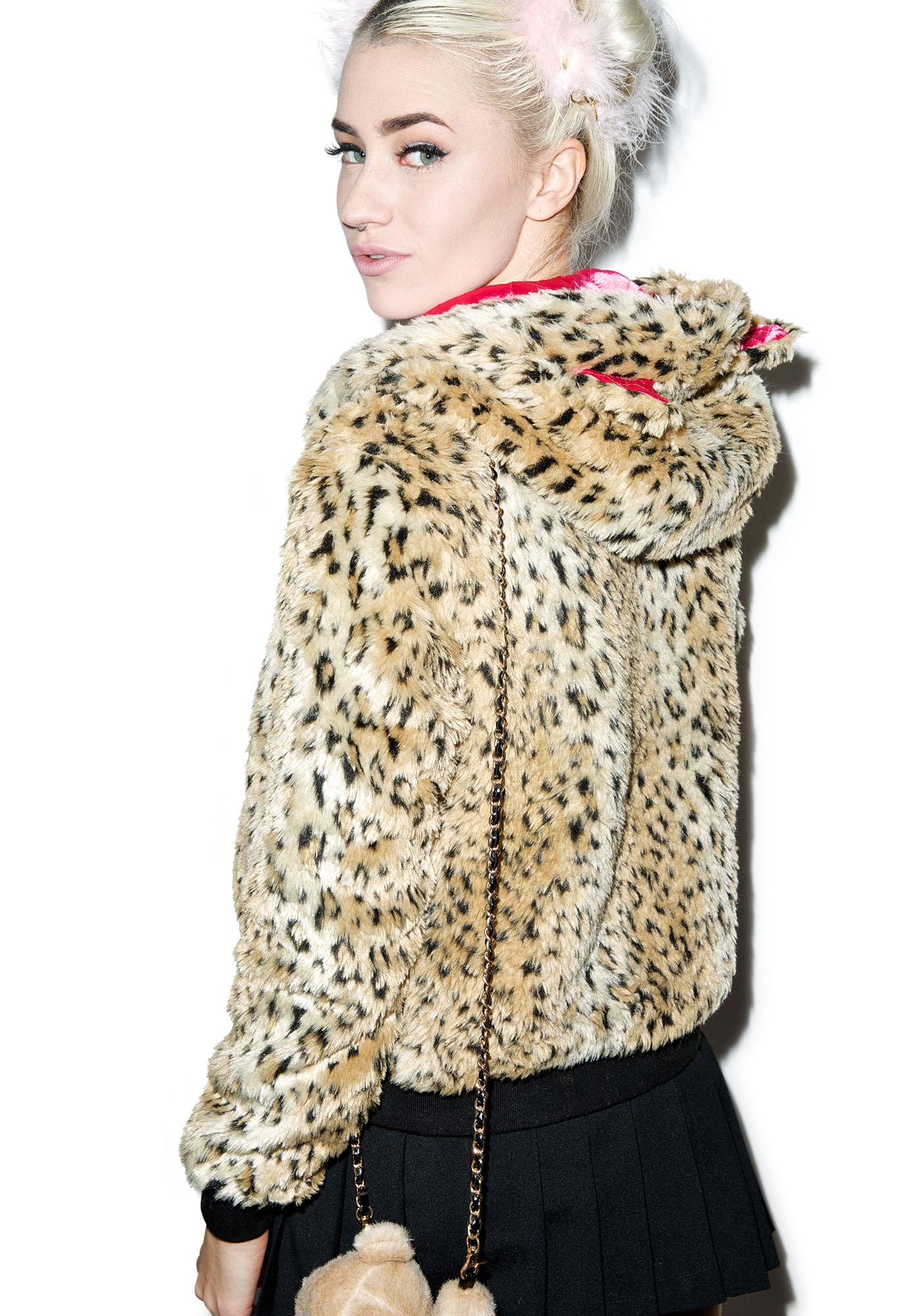 Sourpuss Clothing Kat Fur Leopard Jacket