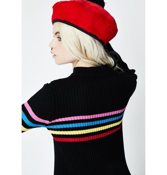 Lazy Oaf Zip Through Rainbow Knit