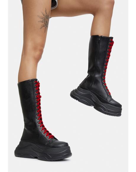 Contrast Lace Up Platform Boots