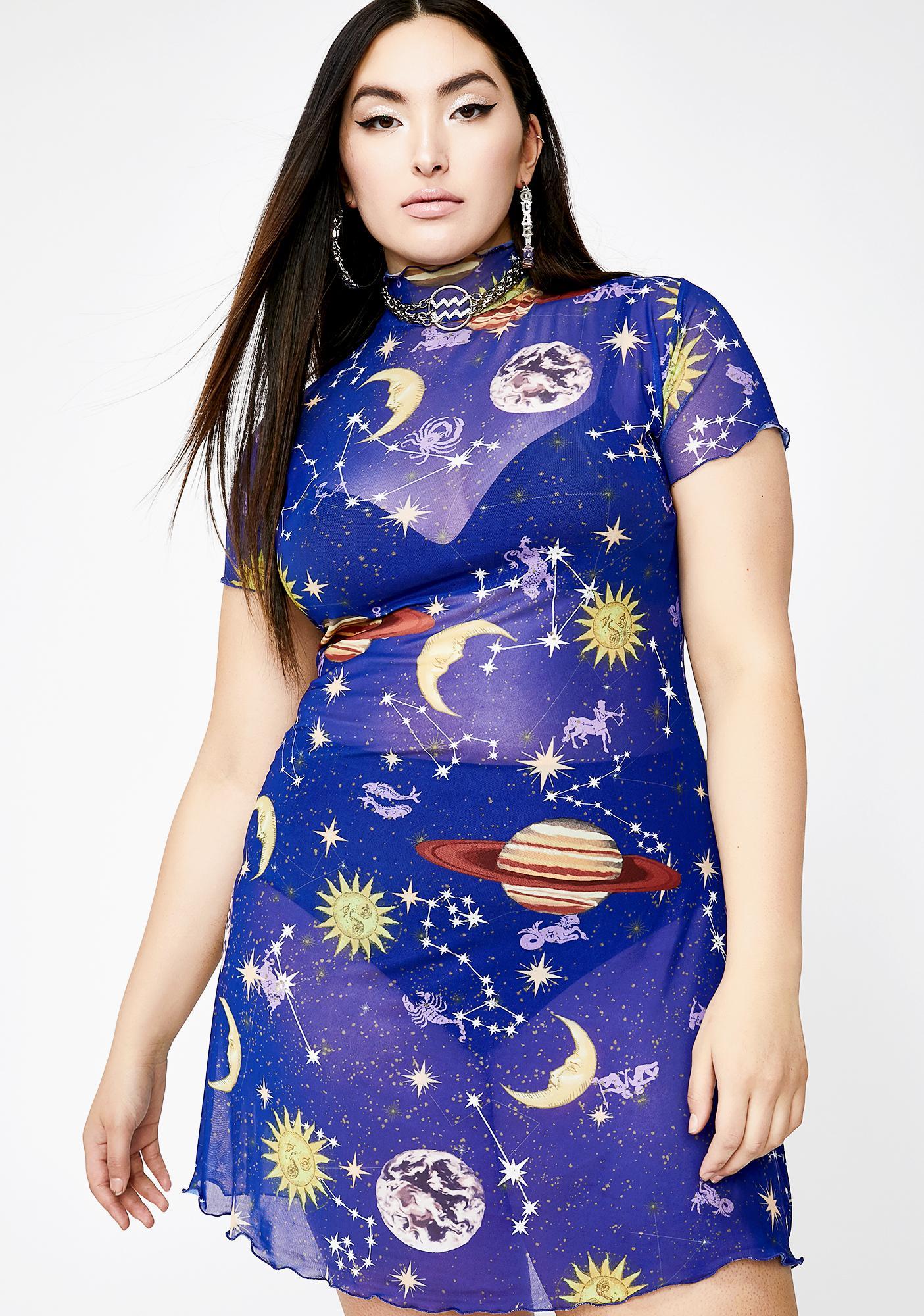 HOROSCOPEZ Dreamy Astro World Mesh Dress