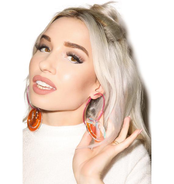 Suzywan Deluxe Smiley Face Hoop Earrings