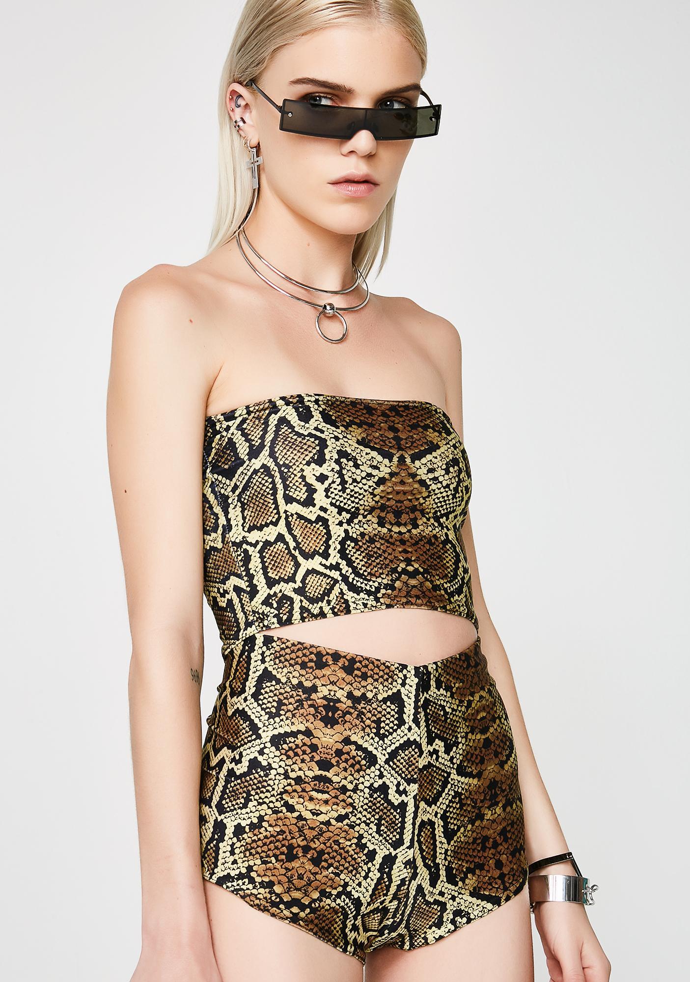 Soulan Zee Brown Snake Skin Shorts