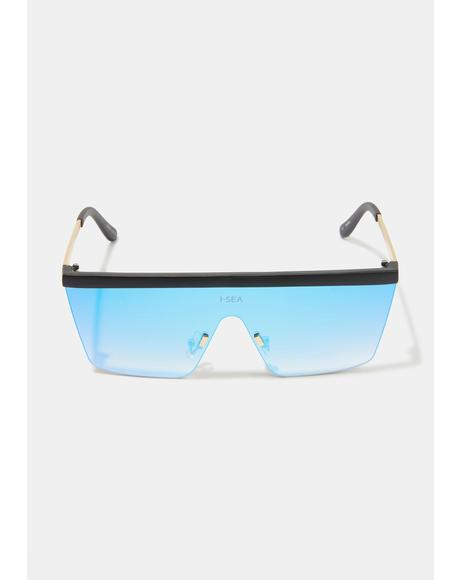 Phoenix Gold Blue Shield Sunglasses