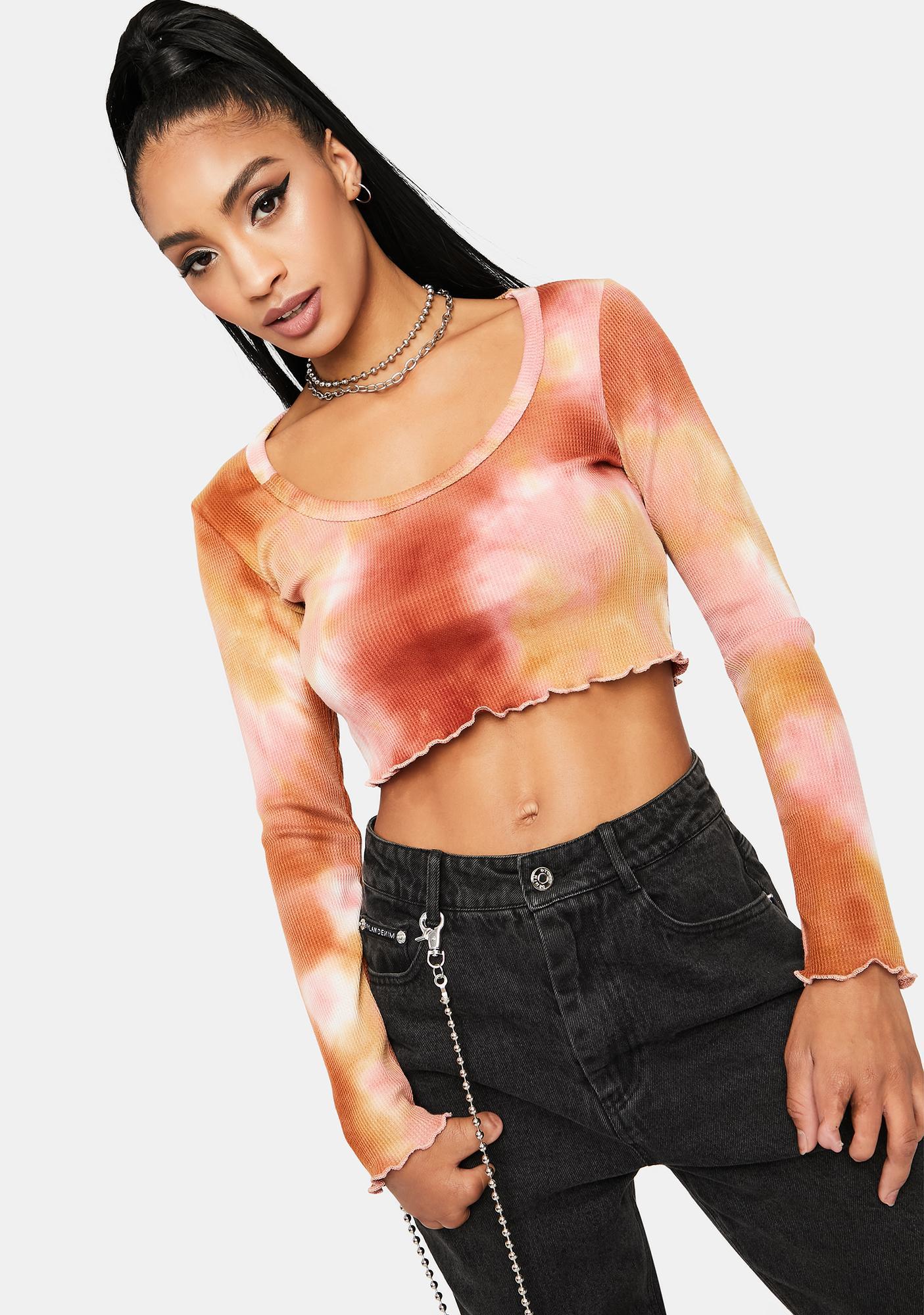 Peach Sherbet Tie Dye Lettuce Hem Crop Top