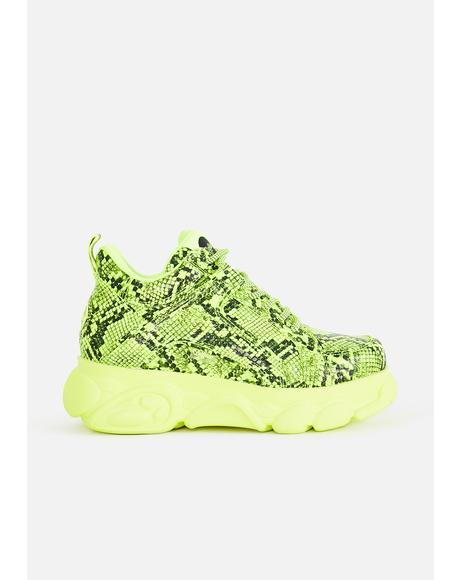 Yellow Snakeskin Corin Platform Sneakers