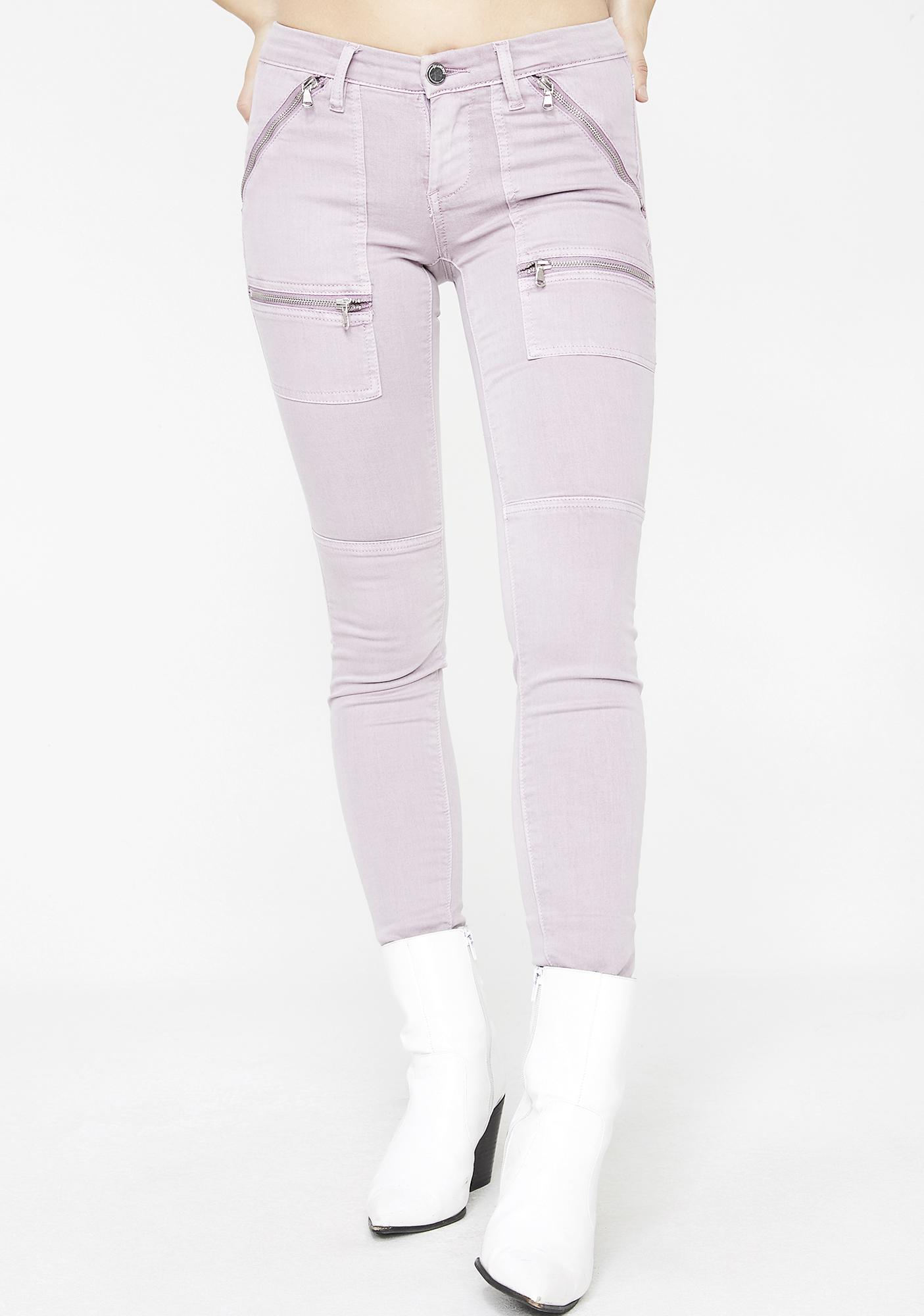 Blank NYC Soft Lilac Zipper Jeans