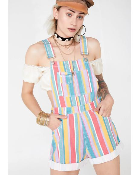 Technicolor Tripster Stripe Shortalls