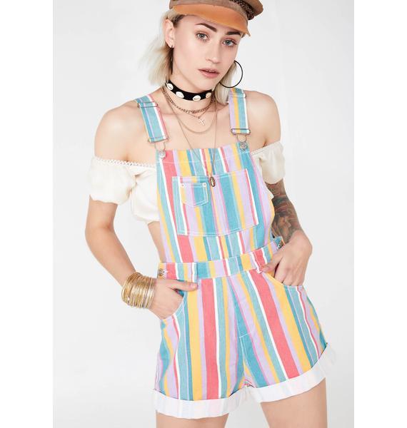 Technicolor Tripster Stripe Shortalls