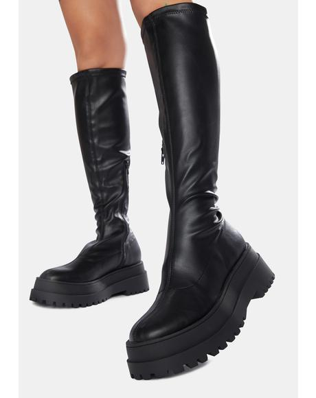 Haunt Knee High Chunky Sole Boots