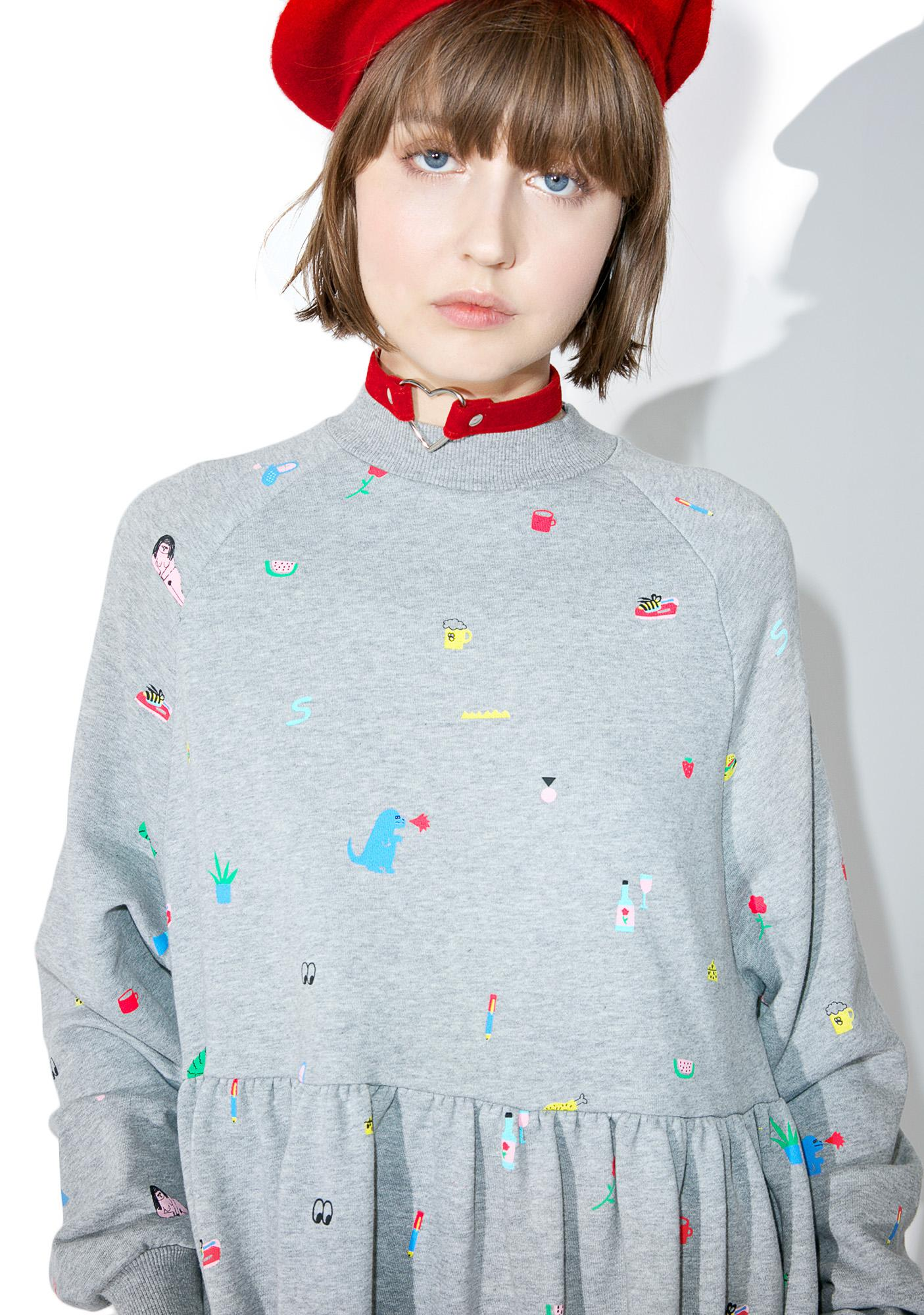 Lazy Oaf Random Icon Sweater Dress