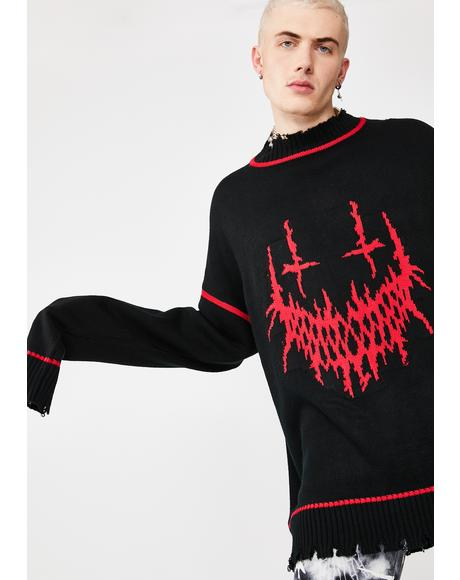 Evil Smile Oversized Knit Sweater
