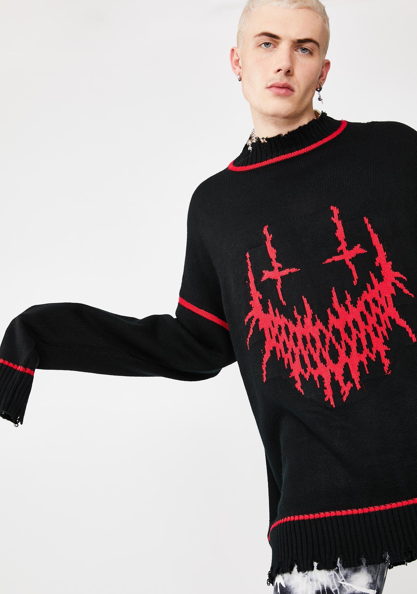 Jaded London Evil Smile Oversized Knit Sweater