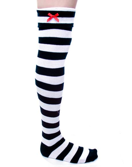 Striped Bow Over The Knee Socks
