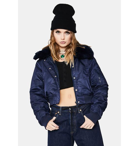 BDG Faux Fur Bomber Jacket