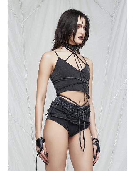 Synth Layered Hot Shorts With Wrap Straps