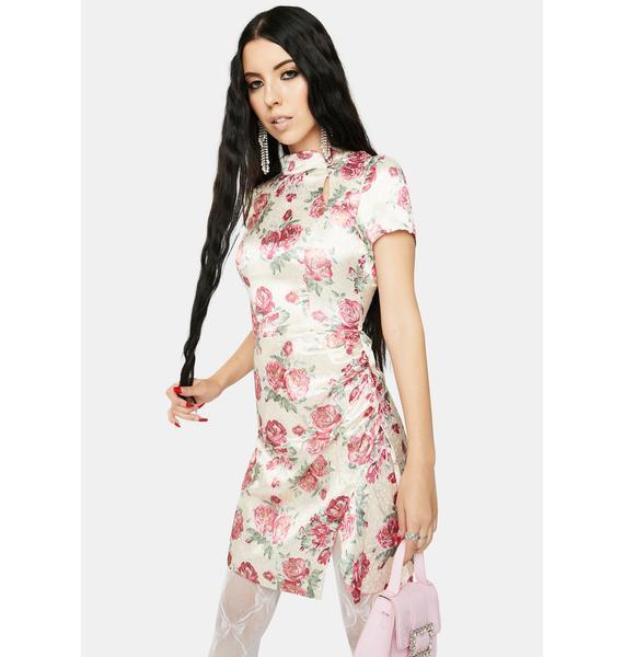 RARE LONDON Cream Metallic Floral Mandarin Collar Dress