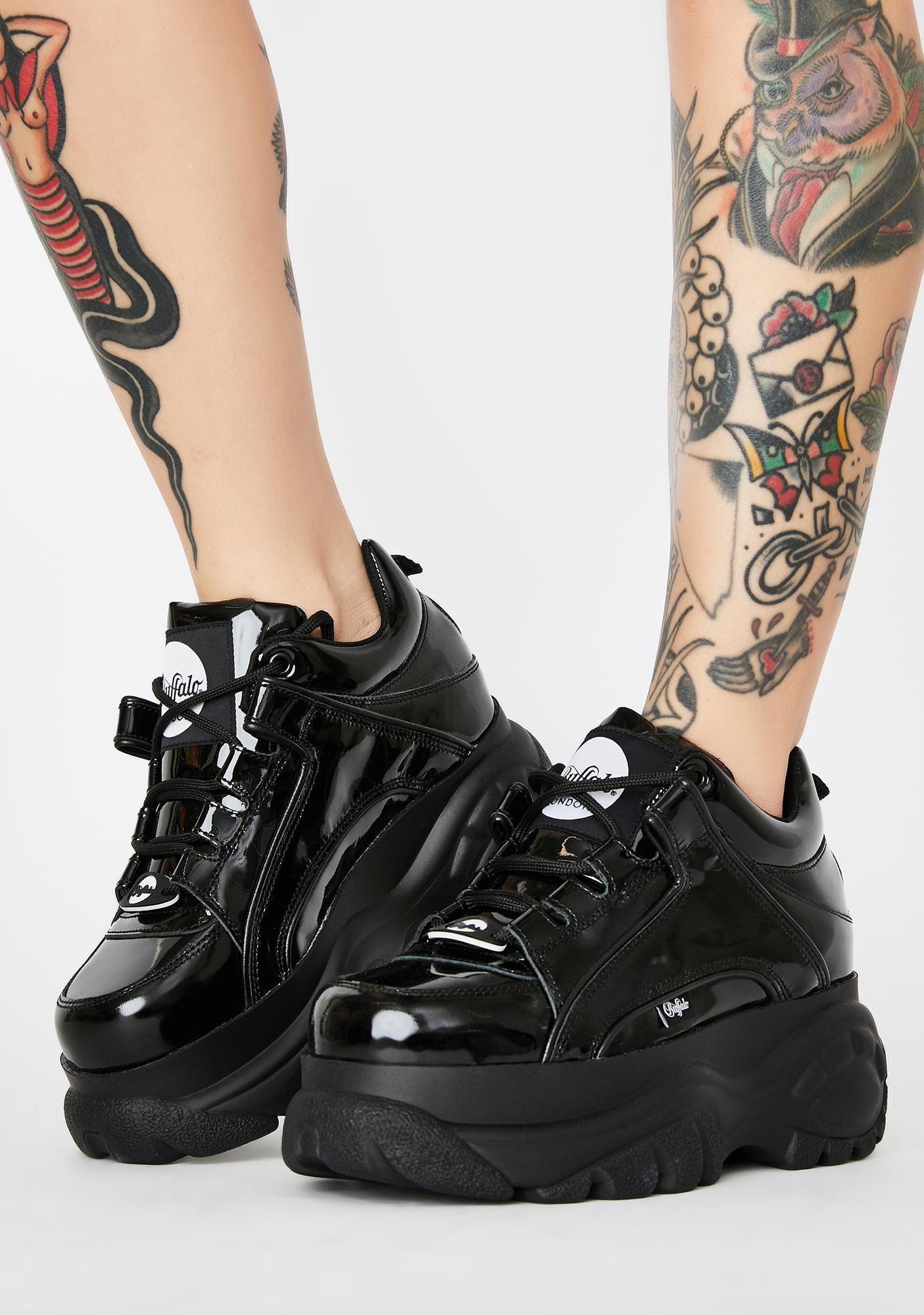 Buffalo London Classic Low Patent Leather Sneakers
