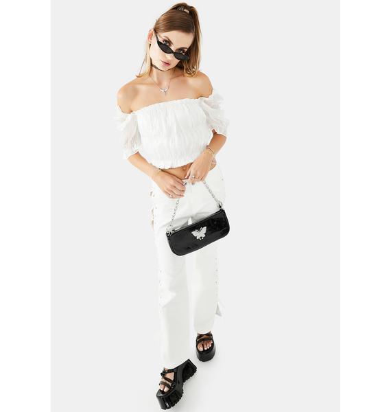 Glamorous White Organza Crop Top
