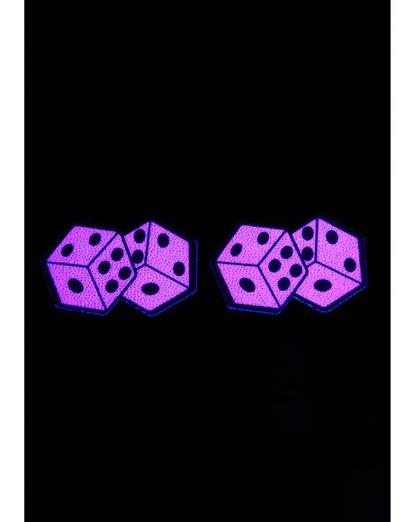 UV Reactive Pair Of Pink Dice Pasties