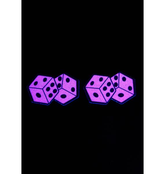 Neva Nude UV Reactive Pair Of Pink Dice Pasties