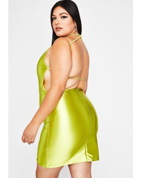 Chartreuse Viral Status Satin Dress