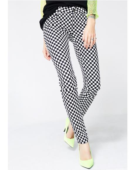 Checkerboard T-Back Jeans