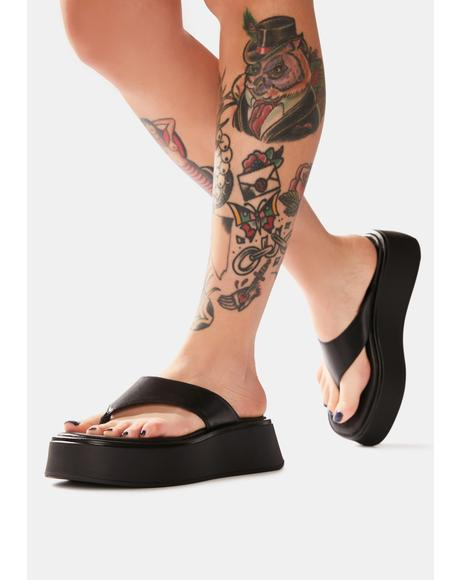 Black Courtney Slip On Sandals