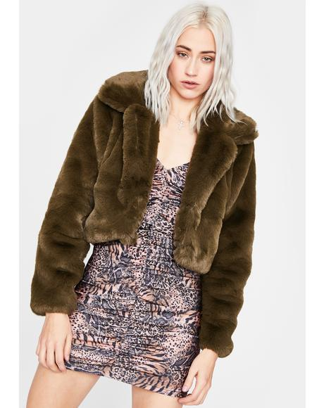 Olive Pure Euphoria Faux Fur Jacket
