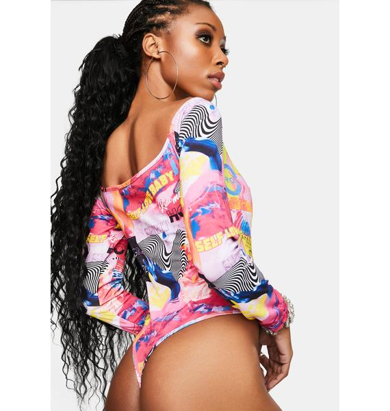Elsie & Fred Empower Print O-Ring Thong Bodysuit